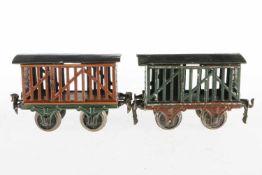 Märklin Vieh- und Milchwagen 1809, S 1, uralt, HL, je 2 ST, 1 Dach nachlackiert, L 15, Z 3