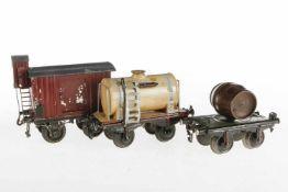3 S 1 Güterwagen, versch. Marken, tw Eigenbau und nachlackiert, zum Herrichten