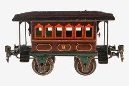 Märklin Durchgangswagen 1807, S 1, uralt, HL, mit Inneneinrichtung, 2 AT, Alterungs- und