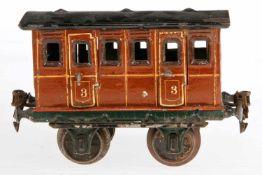 Märklin Abteilwagen 1806, S 1, uralt, braun HL, mit Inneneinrichtung, 4 AT und langen Trittbrettern,