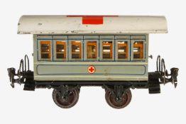 Märklin Sanitätswagen 1828 P, S 1, uralt, HL, 2A, 2 AT, Tonnendach, 2 offene Perrons, mit