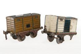 2 Märklin Güterwagen, S 1, uralt, HL, NV, L 15, bespielt
