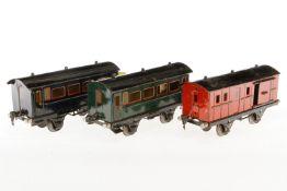 2 Märklin Personen- und 1 Gepäckwagen 1874/1875, S 1, CL, LS, L 24, bespielt