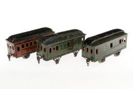 Märklin Personen- und 2 Gepäckwagen 1884/1885, S 1, CL, NV, L 20,5, bespielt