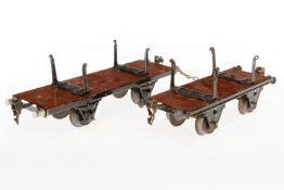 2 Märklin Bretterwagen, S 1, HL, L 19,5 und 24, bespielt