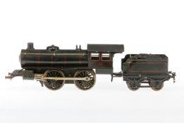 Märklin B-Dampflok R 1041, S 1, Uhrwerk intakt, schwarz, mit Tender, tw nachlackiert, bespielt