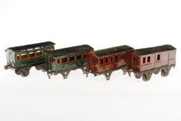 2 Märklin Personen- und 2 Gepäckwagen 1872/1873, S 1, CL, NV, L 20, bespielt