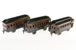3 Märklin Personenwagen 1884, S 1, CL, L 20,5, bespielt