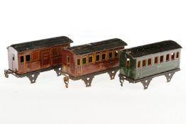 Märklin Gepäck- und 2 Personenwagen 1891/1892, S 1, CL, ohne Radsätze und NV, L 17, bespielt