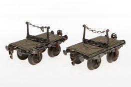 2 Märklin Drehschemelwagen, S 1, uralt, HL, LS, L je 12,5, bespielt