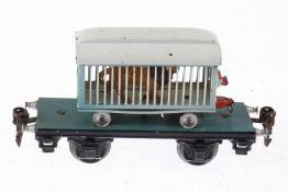 Märklin Plattformwagen mit Käfigwagen und Löwe, S 0, HL, LS und Alterungsspuren, L 16,5, Z 2-3
