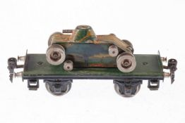 Märklin Plattformwagen mit schlankem Panzer, S 0, HL, Raupen fehlen, LS und gealterter Lack, L 16,5,