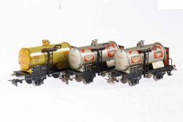3 Märklin Kesselwagen 374, S H0, Blech, LS, L 9,5, bespielt