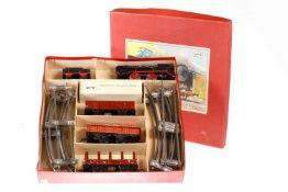 Beckh Zugpackung, S 0, Uhrwerk intakt, CL, mit Lok, Tender, 3 Wagen, Schlüssel und Schienenoval, LS,
