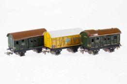 3 Märklin Güterwagen 382 und 2x 390, S H0, Blech, LS, L 8,5, bespielt