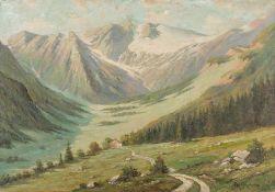 Cherny (Maler der Neuzeit) Gebirgslandschaft mit Blick über weites Tal mit einsamem Gehöft auf
