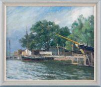 Friis, Achton (1871-1939) Lagerschuppen und ankernde Boote. Sign. Lwd. 40×48 cm. R. Beigegeben: A.