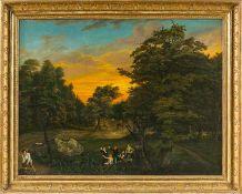 Deutscher Maler C. Grimm (um 1827) Parklandschaft mit Abendrot am Himmel. Auf der Wiese singende und