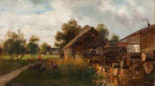 Deutscher Maler (1. H. 20. Jh.) Mühle und gestapelte Holzstämme. Rest einer Sign. Lwd., teilweise