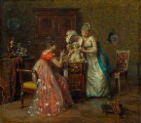 Bachereau-Reverchon, Victor (1842-1885) Zeitvertrieb. Zwei junge Damen, einem Schoßhund einen