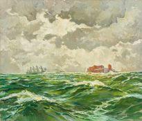 Graf, Gerhard (Berlin 1883-1958) Stürmischer Tag über Helgoland. Blick auf die Insel über
