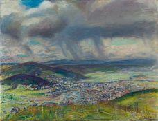 Derselbe Badische Stadt aus der Vogelschau, wohl Freiburg. Unter dunklen Gewitterwolken. Sign.