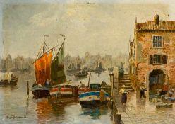 Derselbe Gracht in Amsterdam mit zahlreichen Lastkähnen und Segelbooten. Sign. Kupfer. 13×19 cm.
