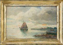 Bremer, F. (Anf. 20. Jh.) Bodensee mit Botter unter vollen Segeln und Ausflugsdampfer in der