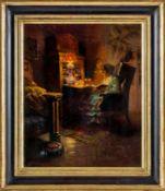 Binder, Betty (20. Jh.) Biedermeier-Interieur mit lesender Dame am Sekretär im Schein einer
