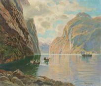 Eckenbrecher, Themistokles von (Athen, Berlin 1842-1921) Am Geiranger Fjord mit Blick auf die