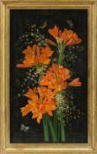 Derselbe Clivia-Blüten und italienischer Ginster vor schwarzem Grund. Sign. u. dat. 1935.