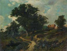 Deutscher Maler (um 1860) Bewachsener Sandweg und mächtige Eiche. Unter dem Baum plauderndes