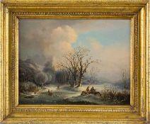 Eijken, van der (Holland, Mitte 19. Jh.) Hügelige Winterlandschaft mit zugefrorenem Fluss und Allee.