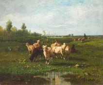 Cortés Y Aquilar, Andres (1810/15-1879), zugeschrieben Weiße und schwarze Schafe in Weidelandschaft.