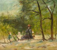 Französischer Maler M. L. (um 1950) Im Bois de Boulogne. Junge Mutter und Kinder beim Spielen.