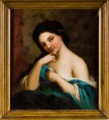 Biedermeiermaler (1. H. 19. Jh.) Kokotte, verschämt die Brust verhüllt, mit gelöstem Haar. Am Finger