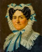 Biedermeiermaler (um 1827) Ältere Dame mit dunklen Locken und weißer, mit blauen Bändern