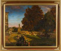 Achenbach, Oswald (Düsseldorf 1827-1905), Kopie nach Villa Borghese. Park mit zahlreichen Besuchern.