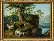 Dresdner Maler B.v.k. (um 1833) Parklandschaft am Fluss. Ziegen und Hirte unter mächtiger Eiche
