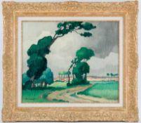 Balande, Gaston (1880-1971) Französische Landschaft unter aufziehenden Gewitterwolken. In der