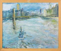 Friedrich-Rust, Silvia (20. Jh., ansässig in Icking) Großstadt am Fluss. Auf dem Wasser