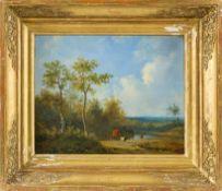 Frey, Johann Jacob (1813-1868), zugeschrieben Weite hügelige Sommerlandschaft. Am Ufer eines