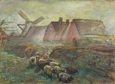 Derselbe Dorfhäuser hinterm Deich und Schafherde. Sign. Lwd. 62×81 cm. R. (57569)