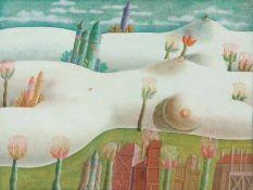 Arnoldi, Uz (geb. 1936 Berlin) Drei Gemälde: a) weibliche Landschaft. 1973. 24×31,5 cm. b) Maßnahmen