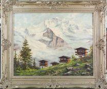 Bartsch, Franz (1900-1988) , wohl Schweizer Gebirgslandschaft mit Jungfraumassiv. Sign. u.