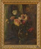 Blumenmaler O. P. (um 1910/20) Rosenstraußin Glasvase vor dunkler Draperie. Monogr. Lwd. 50×38 cm.