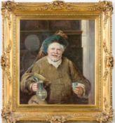 Blaetter, Alex (geb. 1878) Falstaffmit Weinkrug und Becher. Sign. Hartfaserplatte. 41×36 cm. R.(
