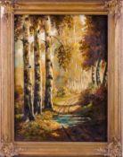 Birkholtz, O. (20. Jh.) Herbstsonne im Birkenwald.Sign. Lwd. 89×63cm. R. Dazu: Serdow, G. (20.
