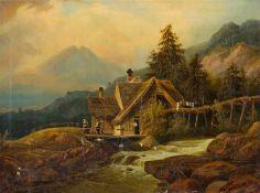 Deutscher Maler (um 1880) Gebirgslandschaft mit Wassermühle an Gießbach mit schmaler Holzbrücke. Vor