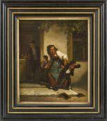 Genremaler (Mitte 19. Jh.) Der Schulschwänzer. Nachsitzender.Zwei kl. Gemälde. a) Mutter, ihren Sohn